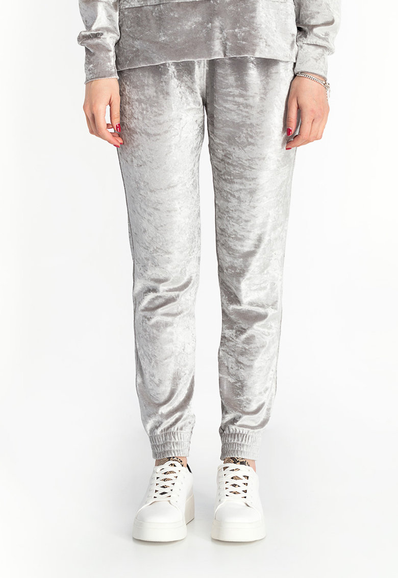 Pantaloni sport din catifea cu talie inalta