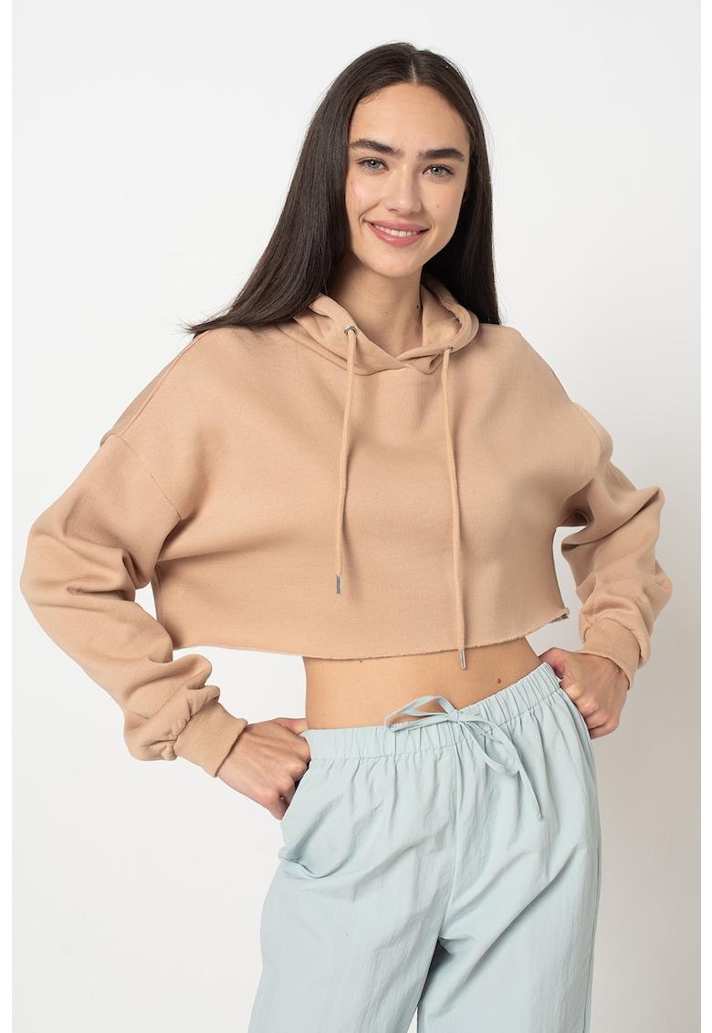 Hanorac crop cu maneci cazute Alissa imagine fashiondays.ro 2021