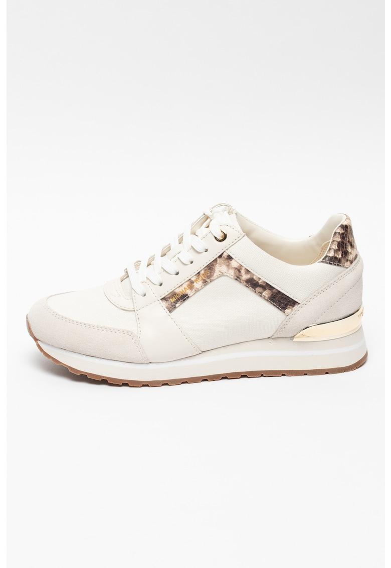 Pantofi sport de piele si piele intoarsa cu insertii de panza Billie Michael Kors fashiondays.ro