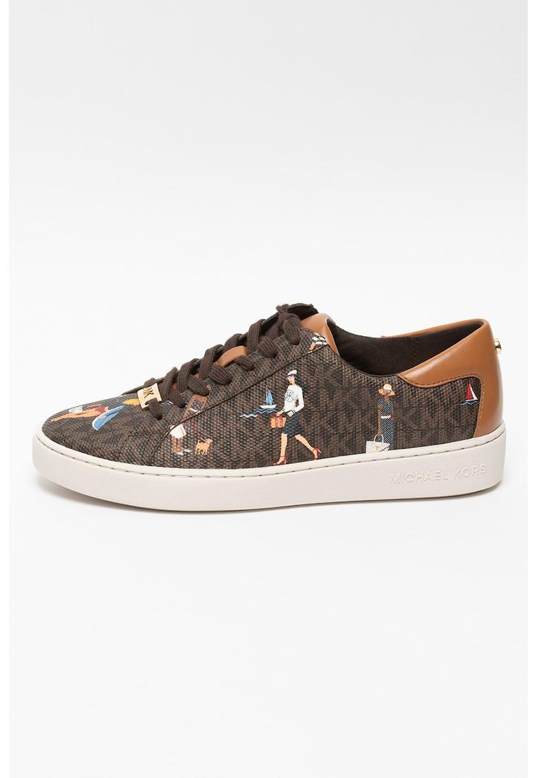 Pantofi sport de piele ecologica cu monograma Keaton Michael Kors fashiondays.ro