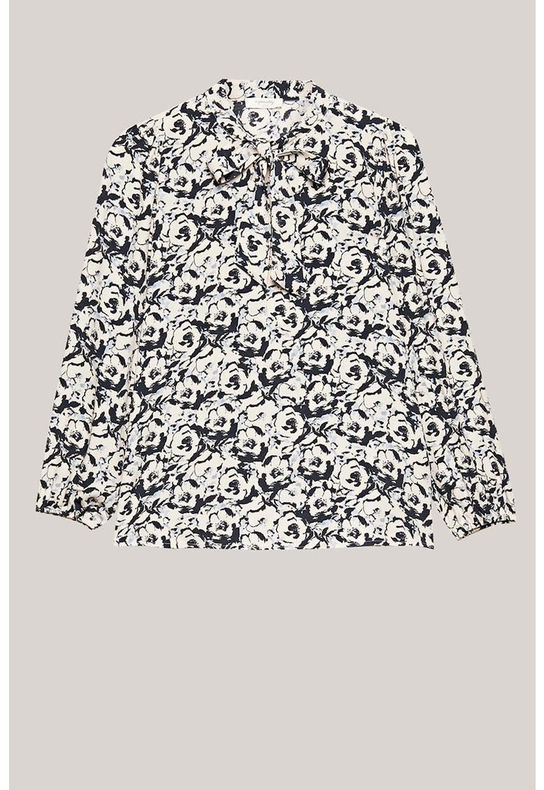 Bluza cu imprimeu floral si funda din panglici