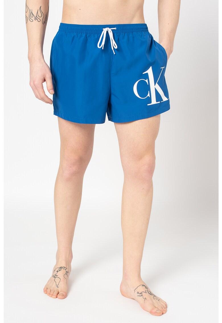 Pantaloni scurti de baie cu imprimeu logo imagine fashiondays.ro 2021