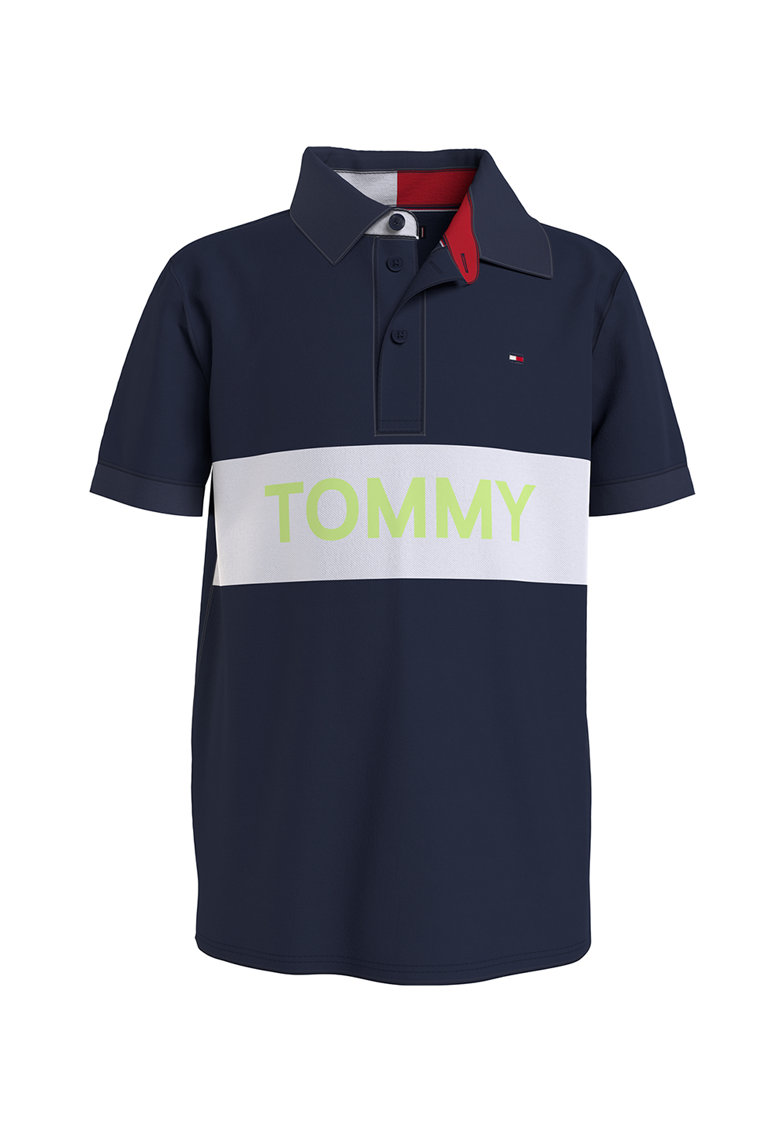 Tricou polo de bumbac organic cu imprimeu logo imagine fashiondays.ro Tommy Hilfiger