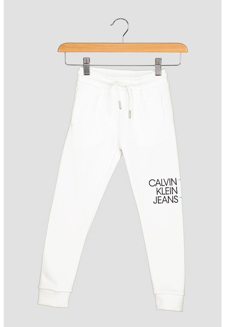 Pantaloni sport de bumbac organic cu imprimeu logo imagine fashiondays.ro 2021