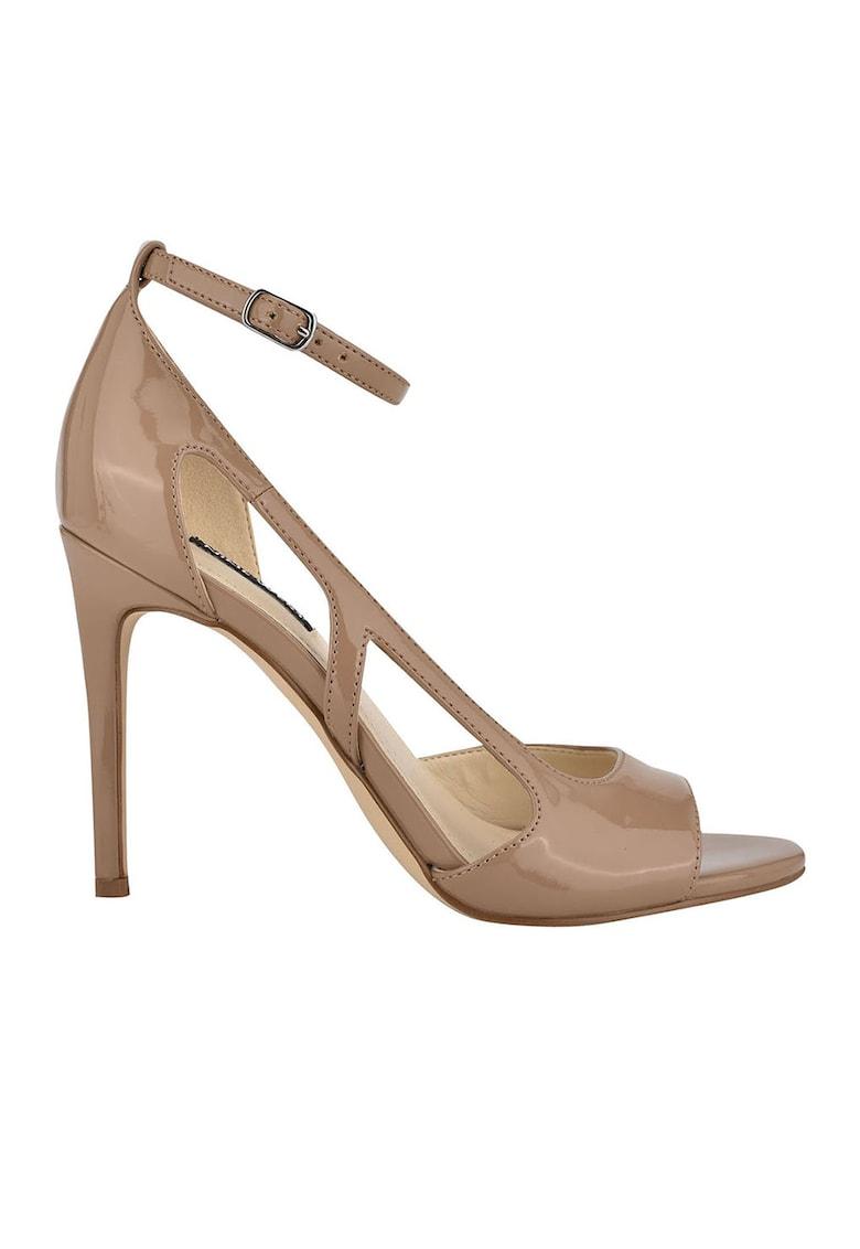 NINE WEST Sandale cu toc stiletto - bareta pe glezna si aspect lacuit Dance