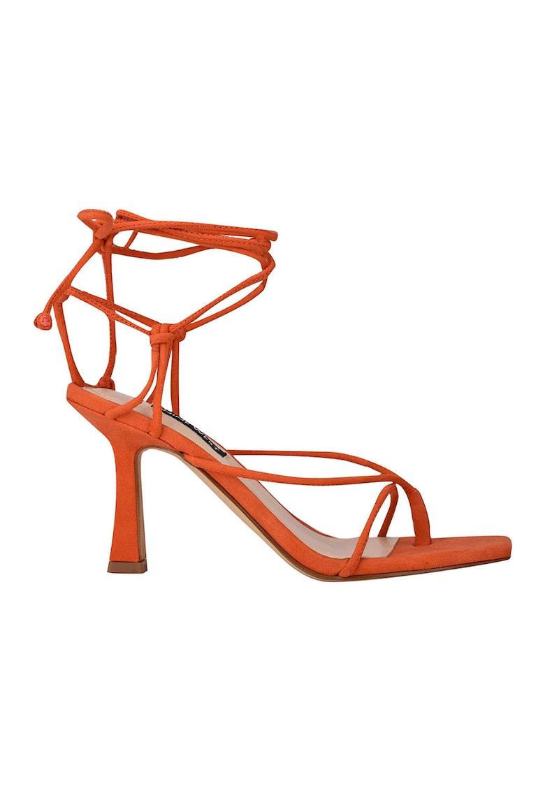 Sandale din piele intoarsa cu bareta infasurabila pe glezna Yarin NINE WEST fashiondays.ro