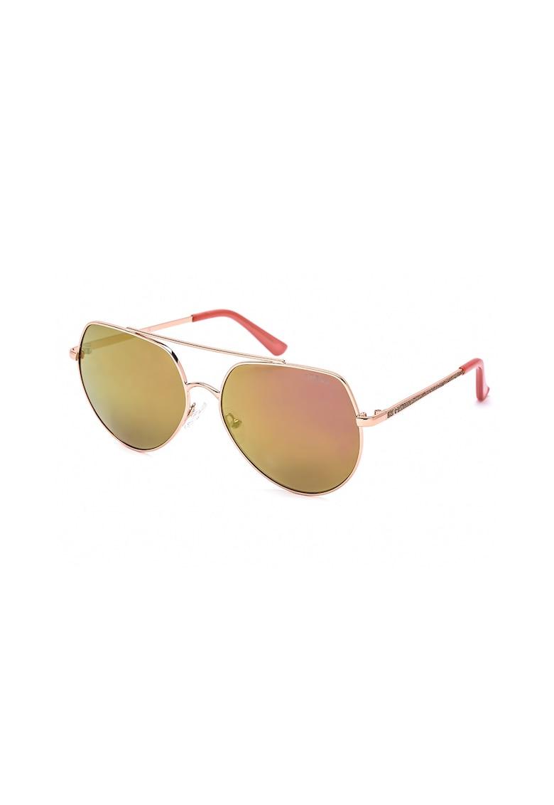 Ochelari de soare aviator cu lentile oglinda imagine fashiondays.ro Guess