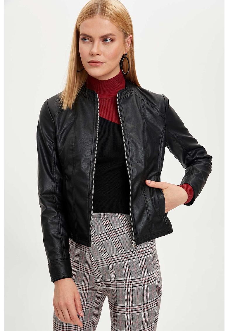 Jacheta din piele ecologica cu fermoar imagine fashiondays.ro 2021
