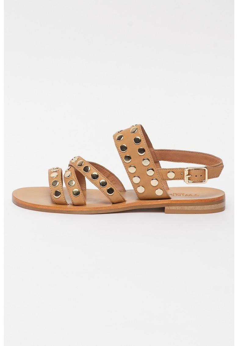 Sandale de piele cu nituri metallice