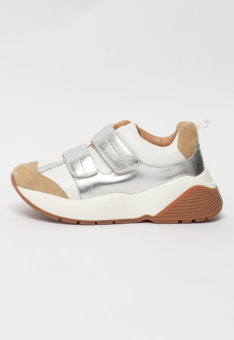 Pantofi sport masivi de piele si piele intoarsa cu garnituri metalizate