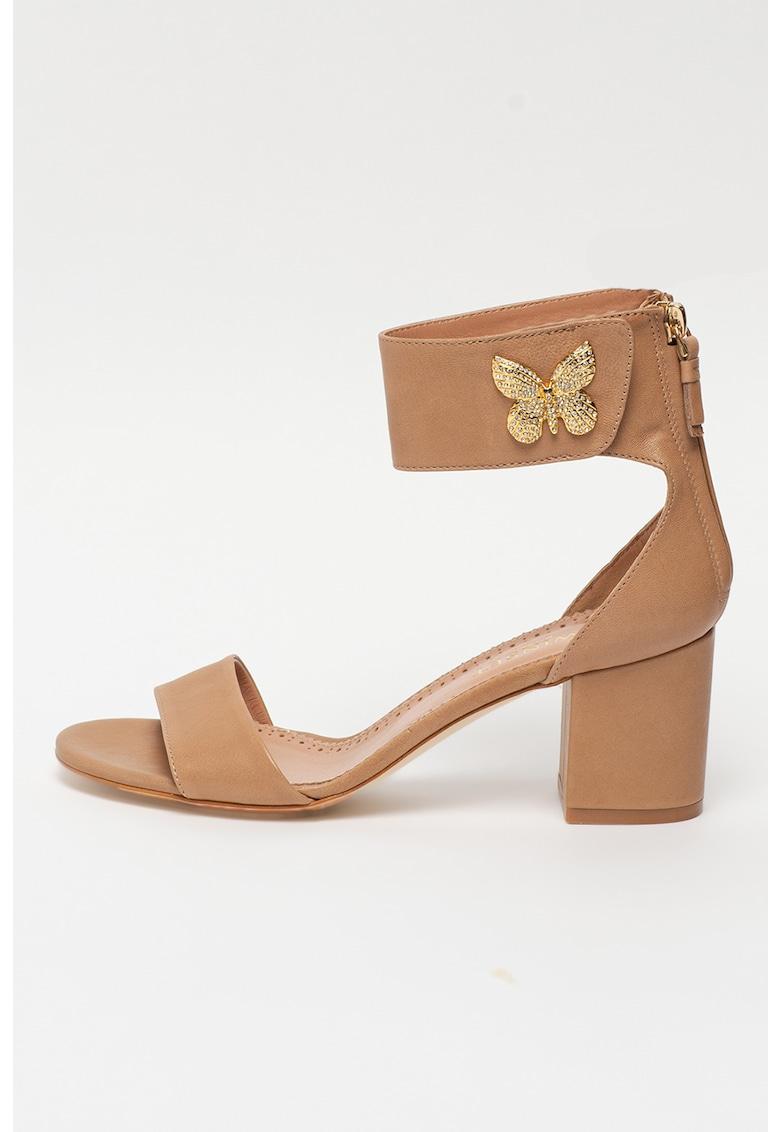 Sandale de piele cu decoratiune metalica si bareta pe glezna
