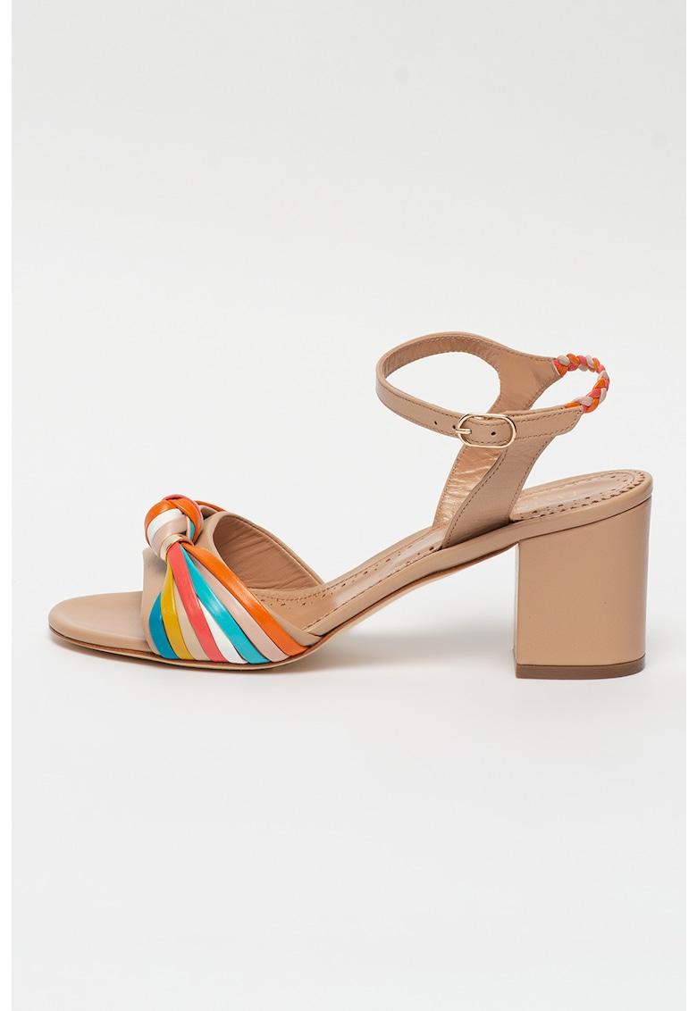 Sandale de piele si piele ecologica cu toc masiv