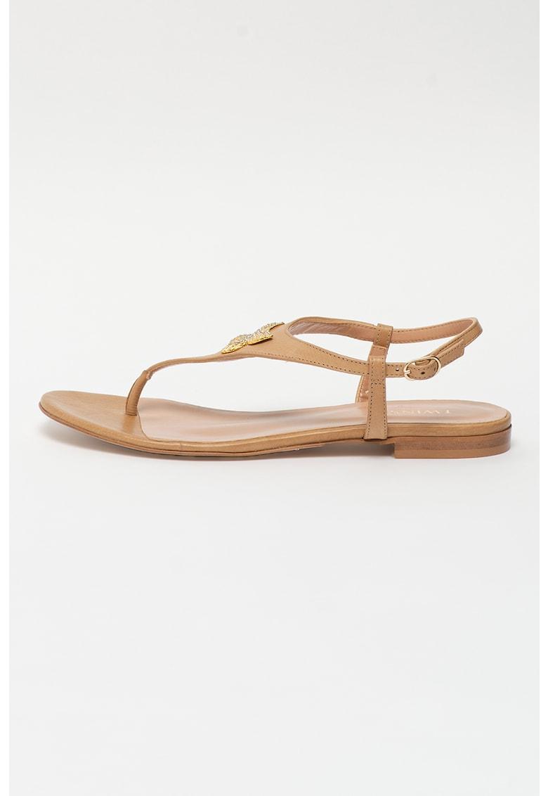 Sandale de piele cu fluture si bareta separatoare