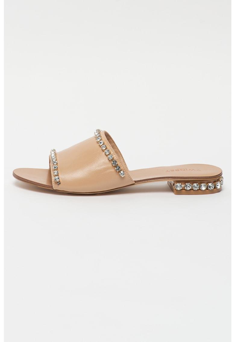 Papuci cu toc de piele cu strasuri
