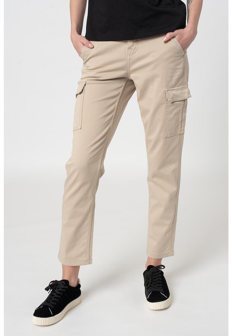 Pantaloni cargo cu croiala dreapta si talie medie