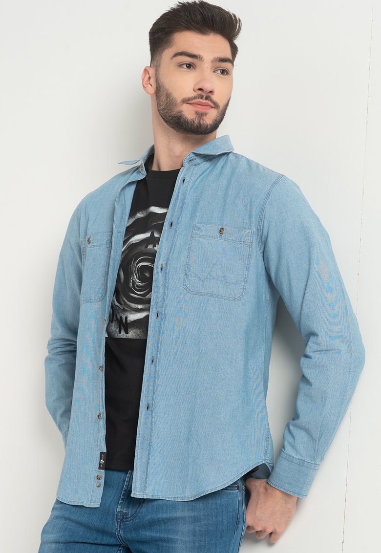 Camasa din material chambray cu buzunare pe piept 7 for all mankind fashiondays.ro