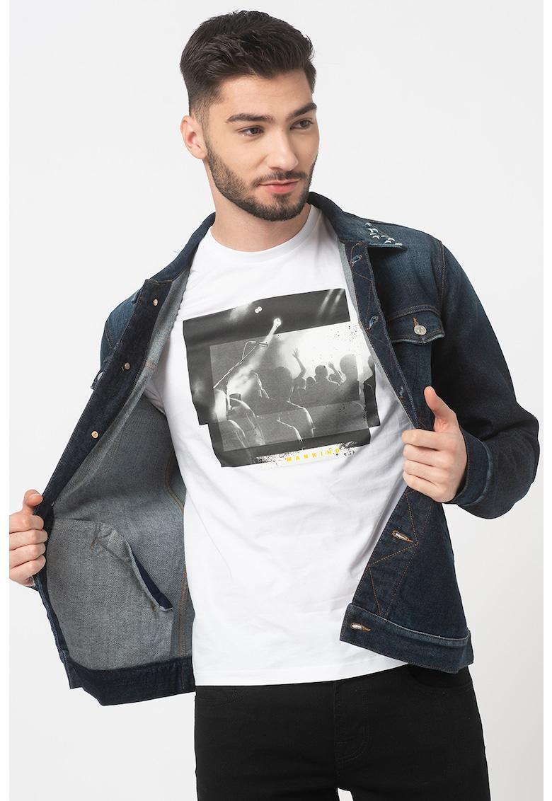 Jacheta din denim cu guler cu cusaturi Western