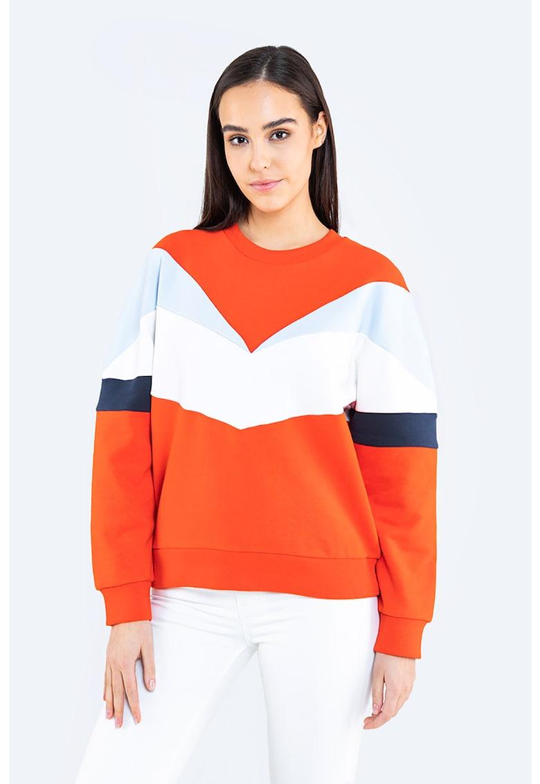 Bluza sport cu decolteu la baza gatului si model colorblock de la Big Star