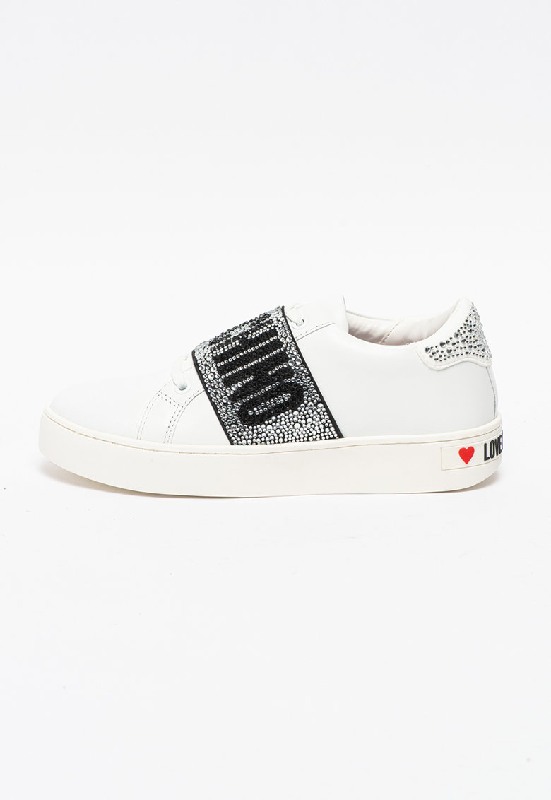 Pantofi sport din piele si material sintetic cu banda logo