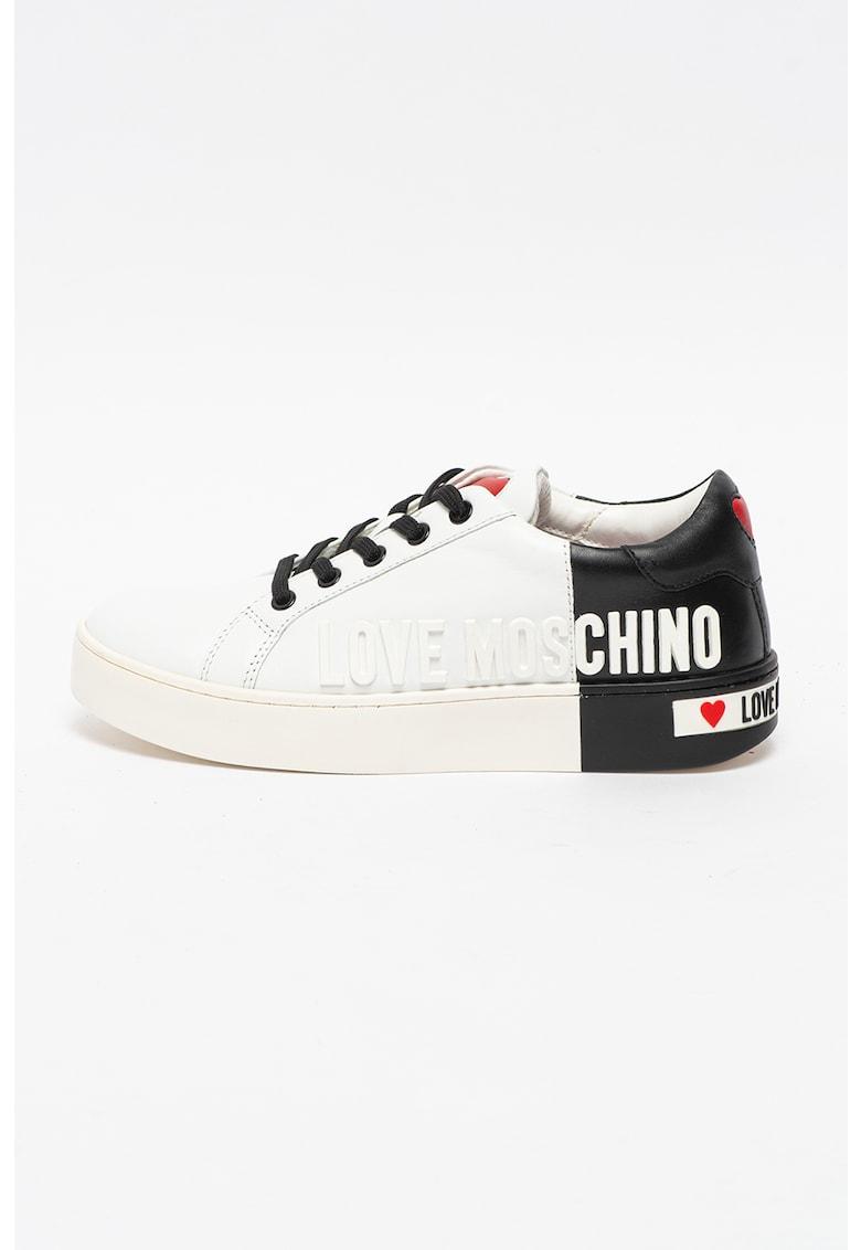 Pantofi sport din piele cu aplicatie logo