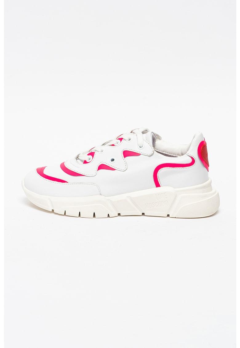 Pantofi sport wedge din piele si piele ecologica