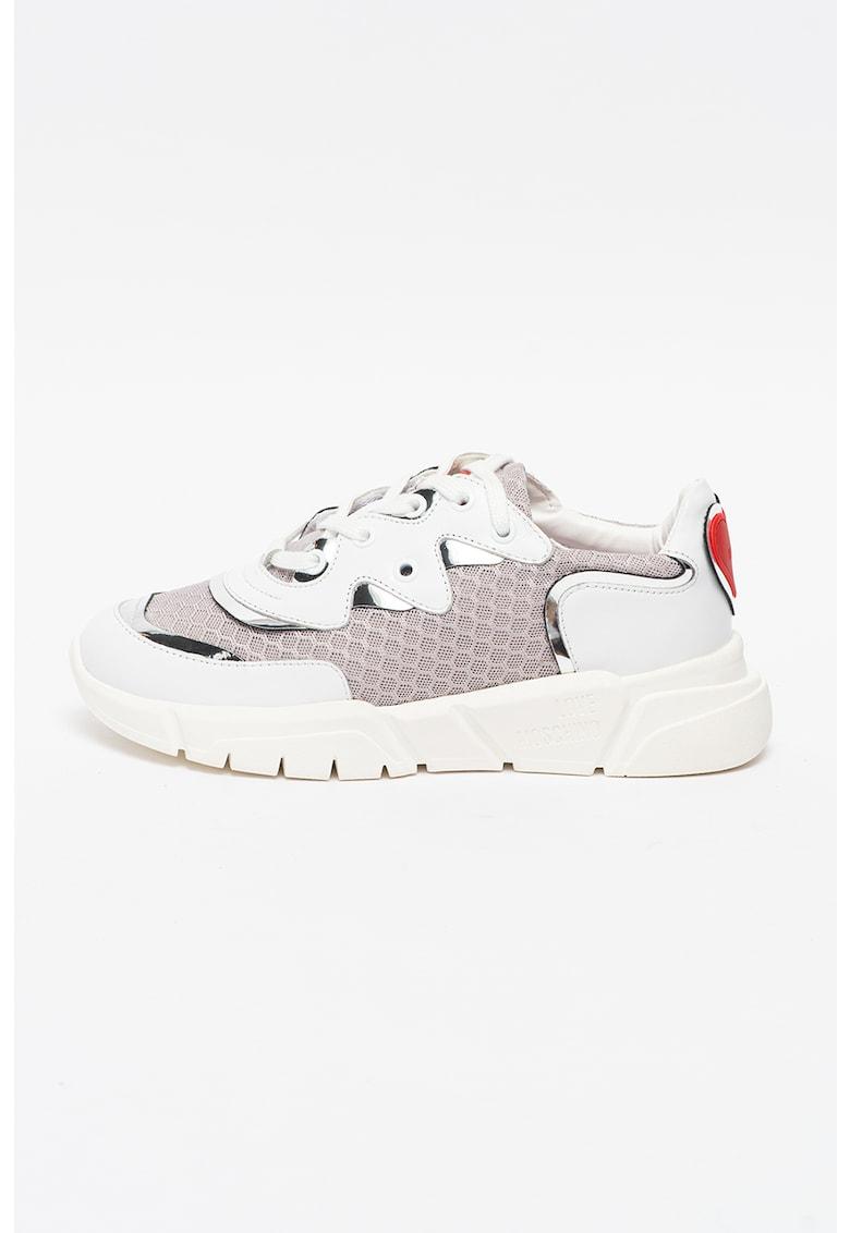 Pantofi sport din piele cu insertii din plasa