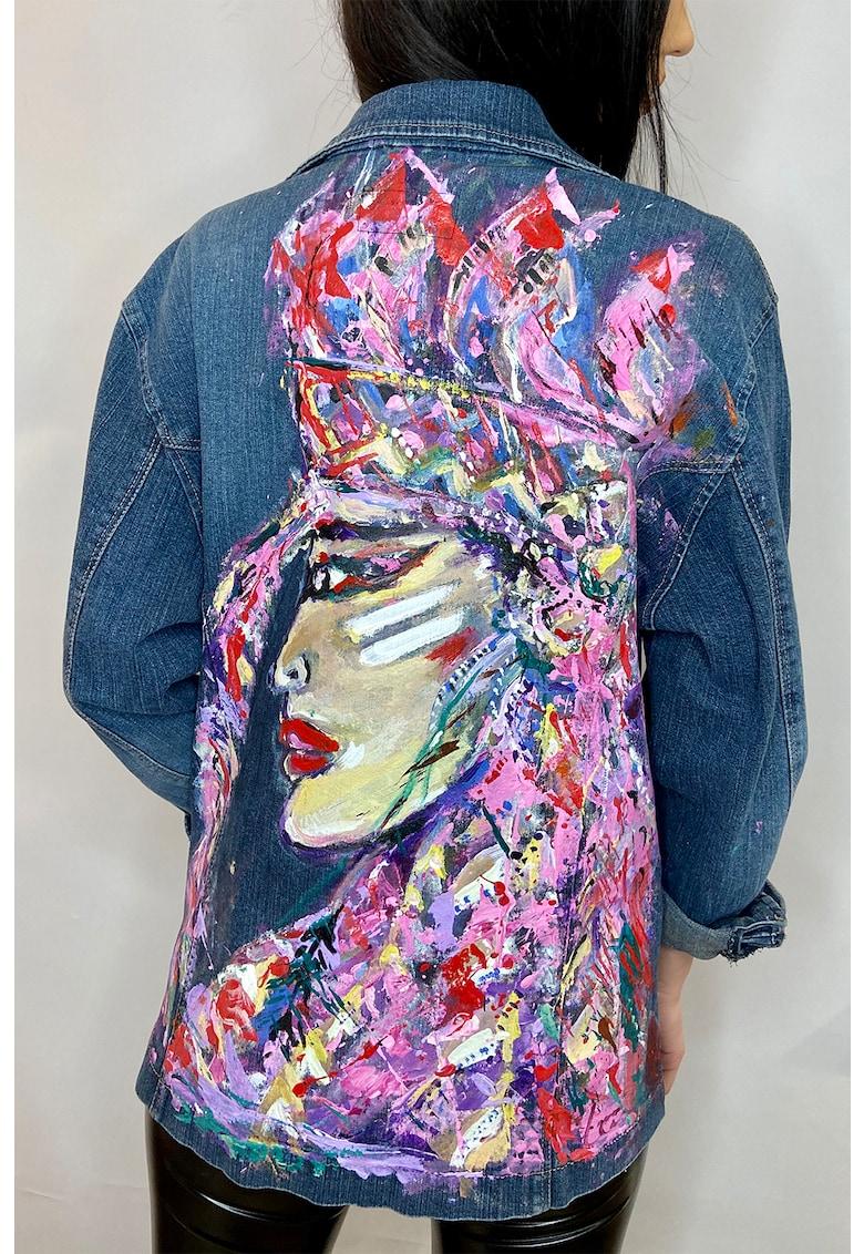 Jacheta din denim pictata manual