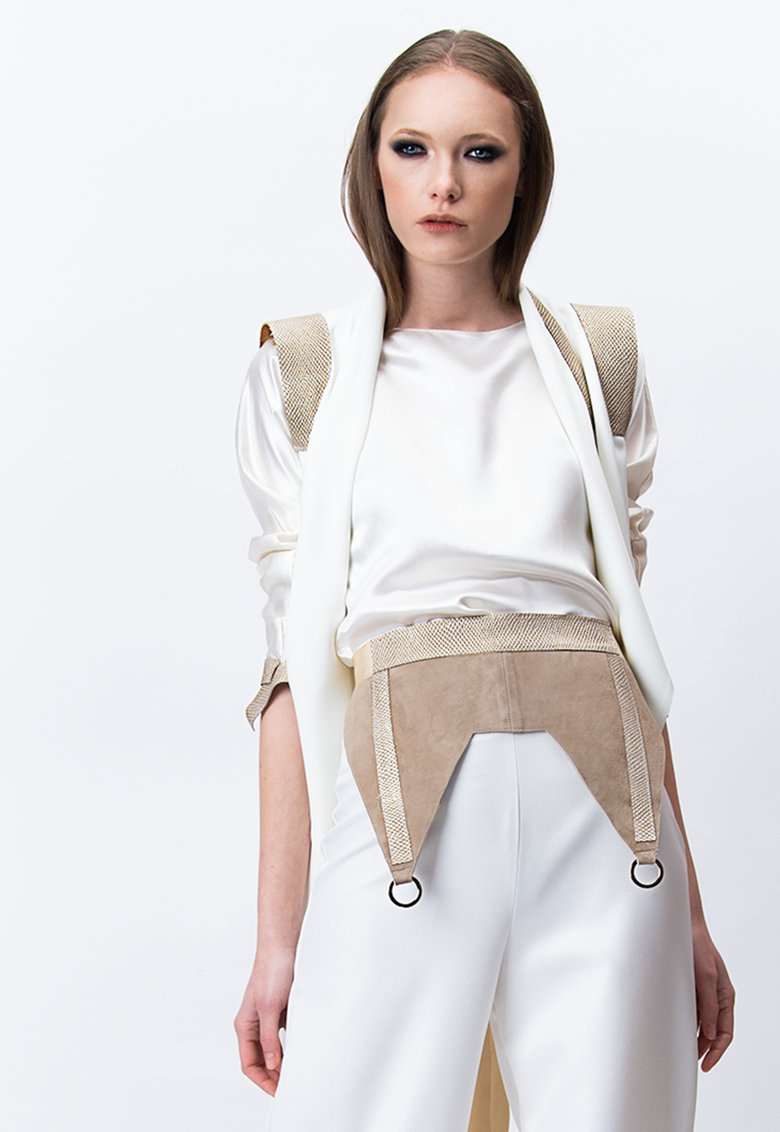 Brau lat de piele intoarsa cu model portjartier imagine fashiondays.ro A&S Negulescu