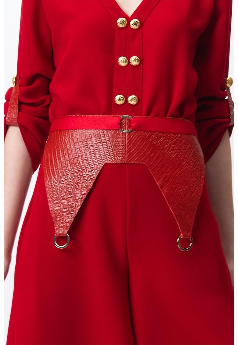 Brau de piele cu aspect de piele de crocodil Alma imagine fashiondays.ro A&S Negulescu