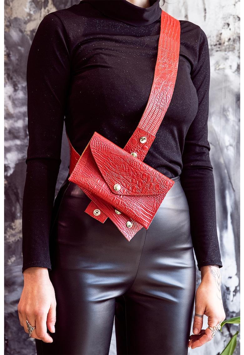 Geanta plic crossbody cu aspect de piele de crocodil imagine fashiondays.ro A&S Negulescu