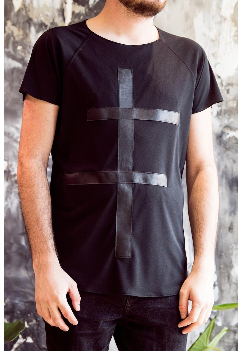 Tricou cu garnituri de piele imagine fashiondays.ro A&S Negulescu
