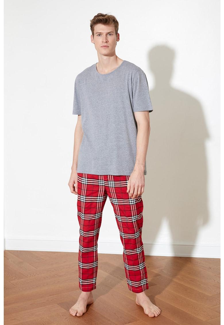 Pijama din amestec de bumbac - cu imprimeu in carouri