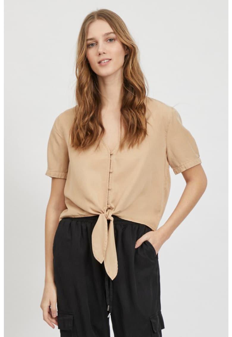 Bluza din lyocell cu nasturi si prindere la terminatie imagine fashiondays.ro Vila