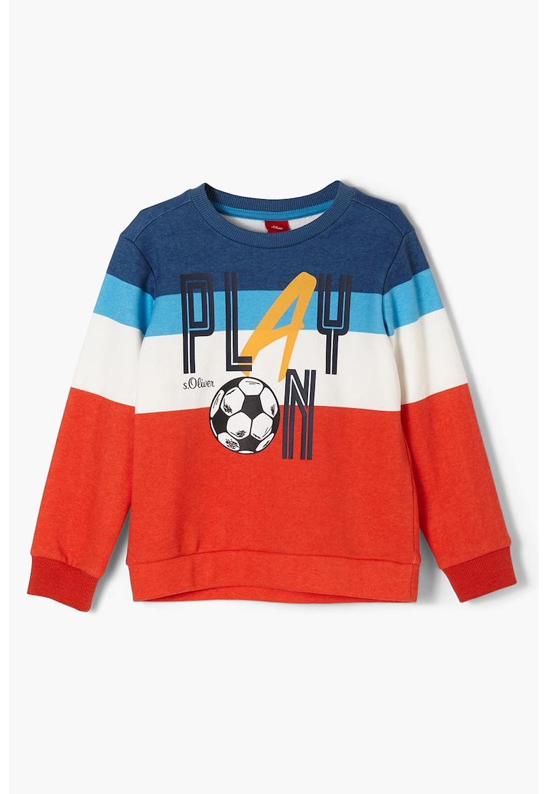 Bluza sport cu imprimeu si decolteu la baza gatului de la sOliver