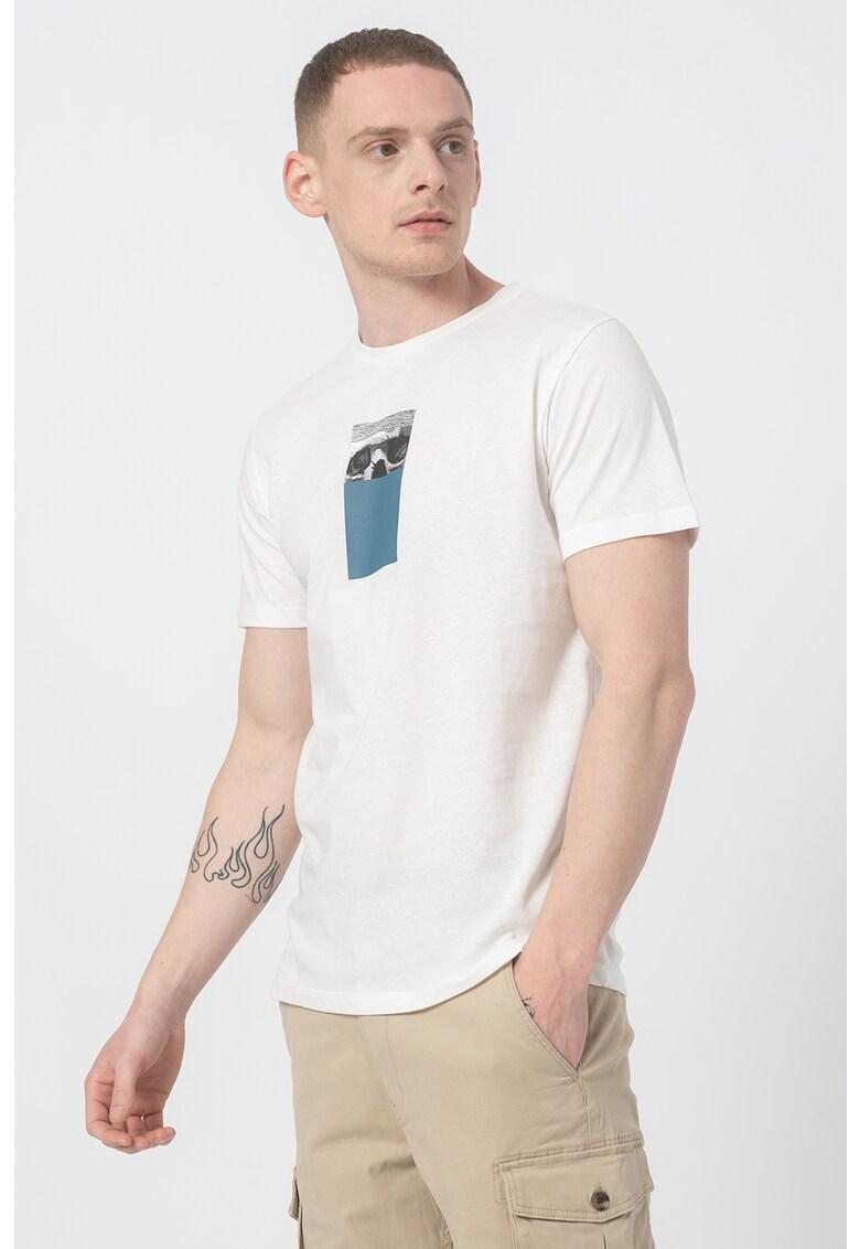 Tricou cu decolteu la baza gatului si imprimeu Vision imagine fashiondays.ro 2021