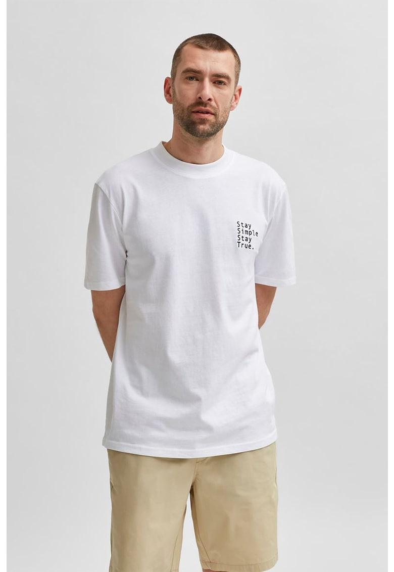 Tricou din bumbac organic cu broderie text imagine fashiondays.ro
