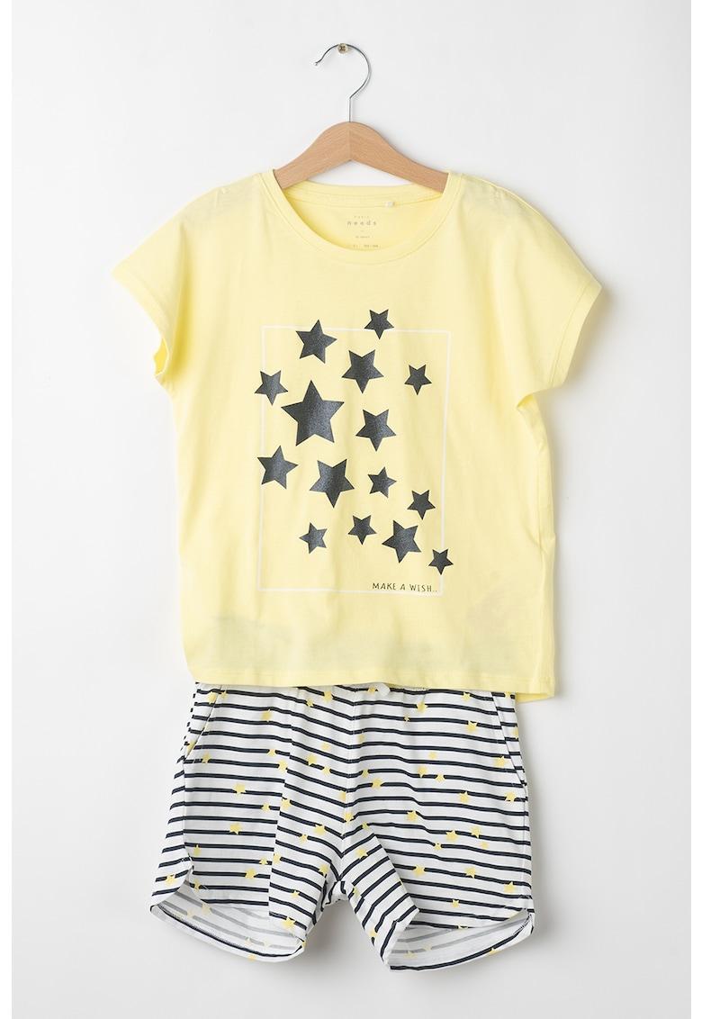 Set de tricou si pantaloni scurti din bumbac organic Vigea imagine fashiondays.ro