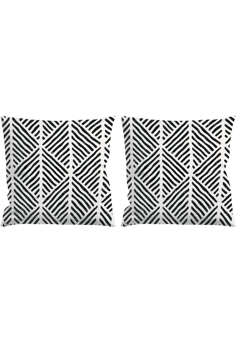 Set 2 huse pentru pernute decorative 45x45 cm - inchidere cu fermoar - print digital - poliester image0