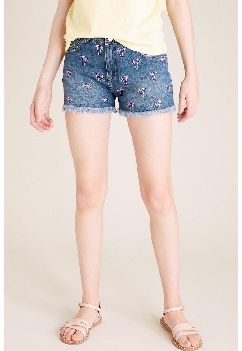 Pantaloni scurti din denim cu model cu broderie imagine fashiondays.ro 2021