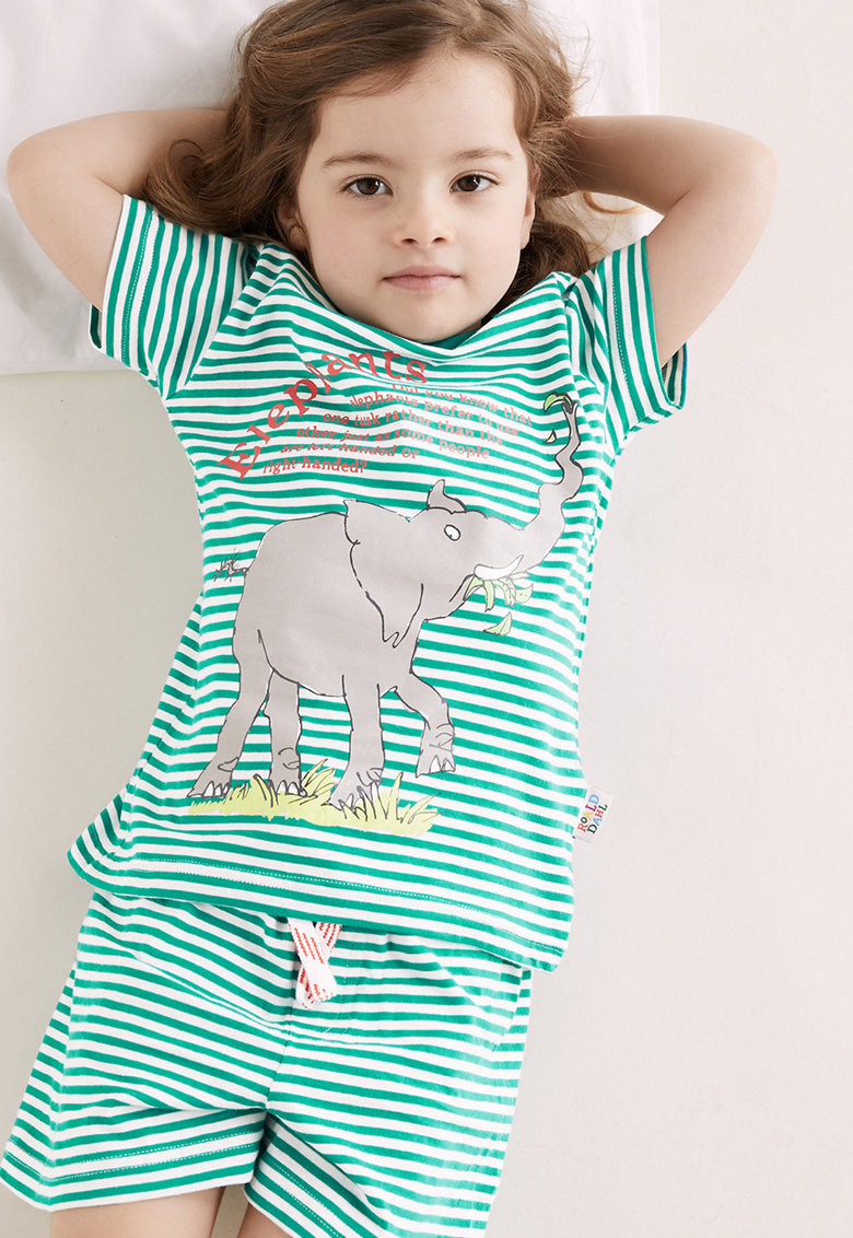 Pijama cu model in dungi si model cu elefant imagine fashiondays.ro 2021