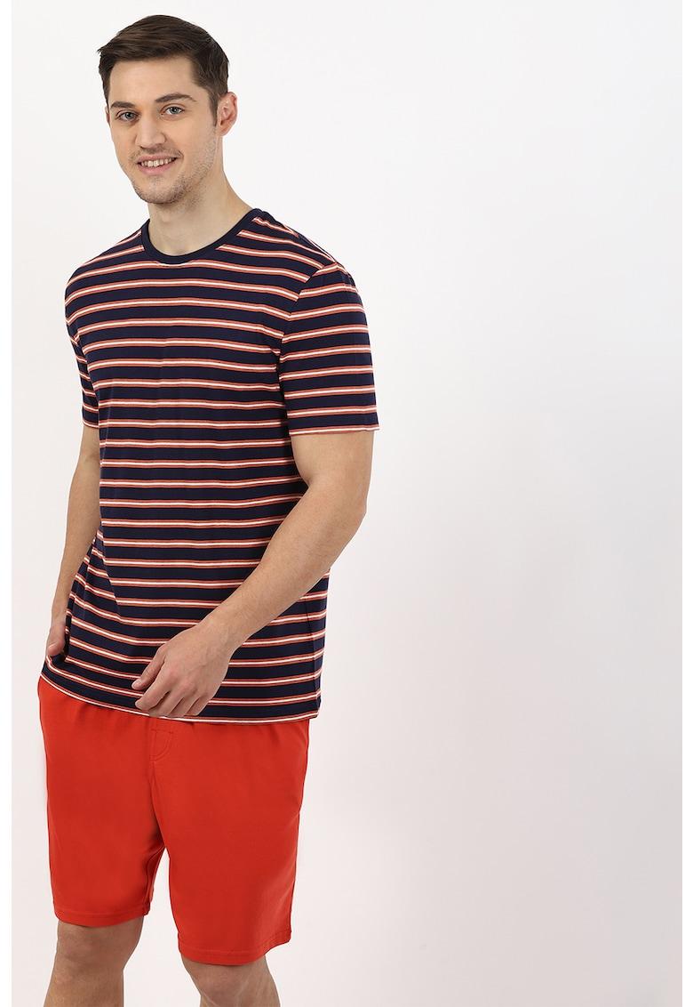 Pijama din bumbac cu model uni si in dungi imagine fashiondays.ro