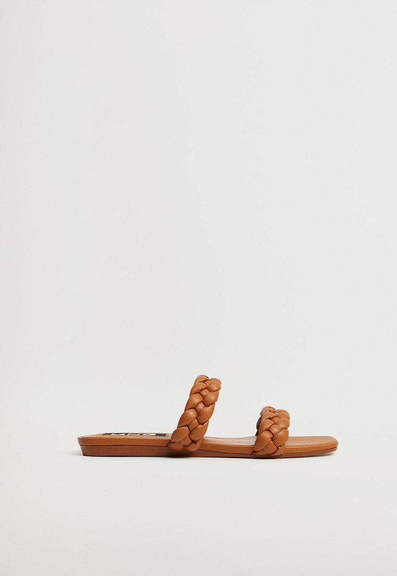 Papuci de piele ecologica cu barete impletite Mulan imagine fashiondays.ro