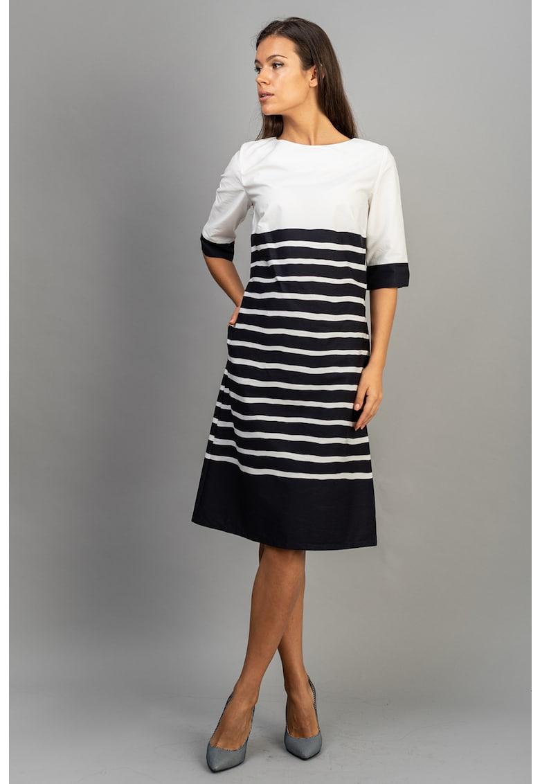 Couture de Marie Rochie midi cu croiala in A si model in dungi Bel