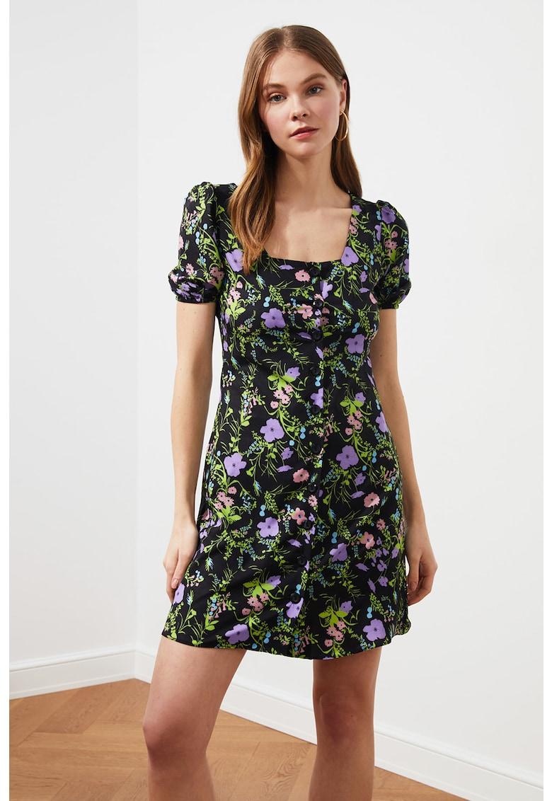 Rochie cu nasturi si model floral
