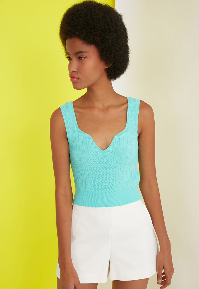 Top tricotat fin din jerseu cu aspect texturat imagine fashiondays.ro Trendyol
