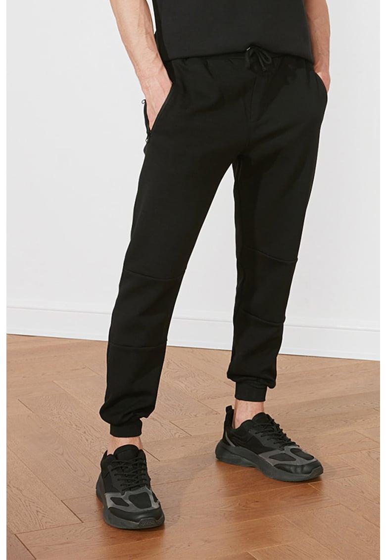 Pantaloni sport de bumbac cu buzunare cu fermoar fashiondays.ro