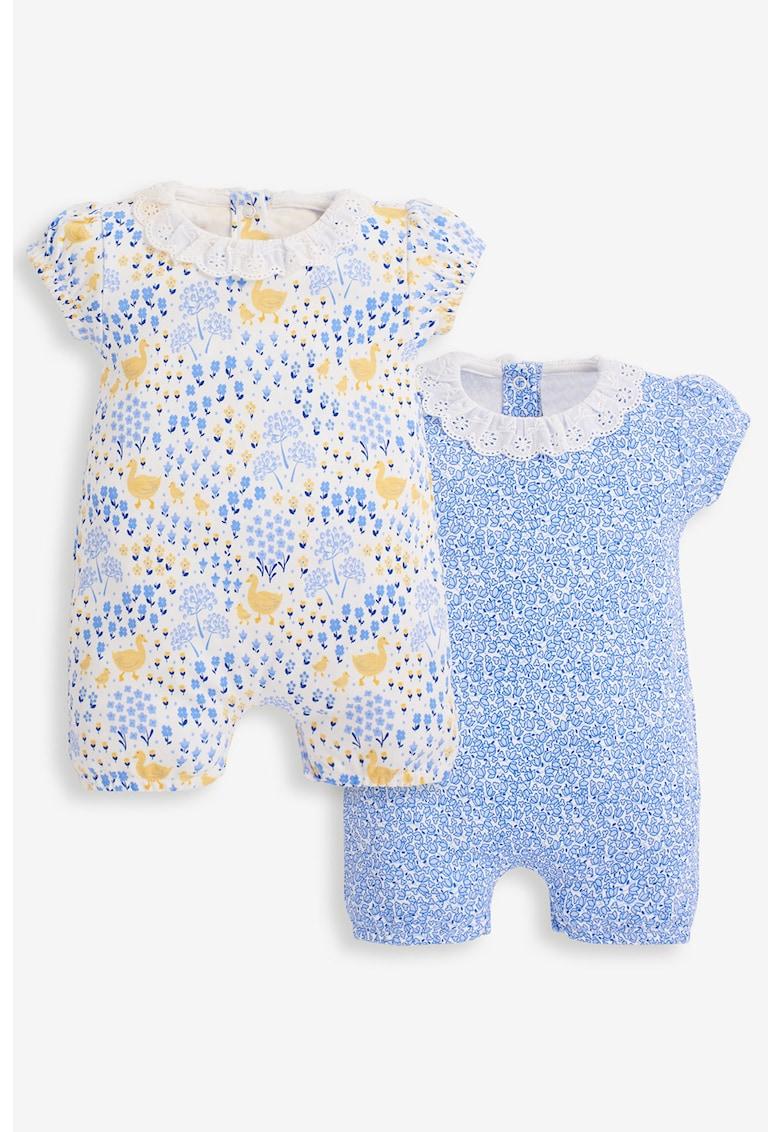 JoJo Maman Bebe Set de salopete cu botosei cu imprimeu floral - 2 piese