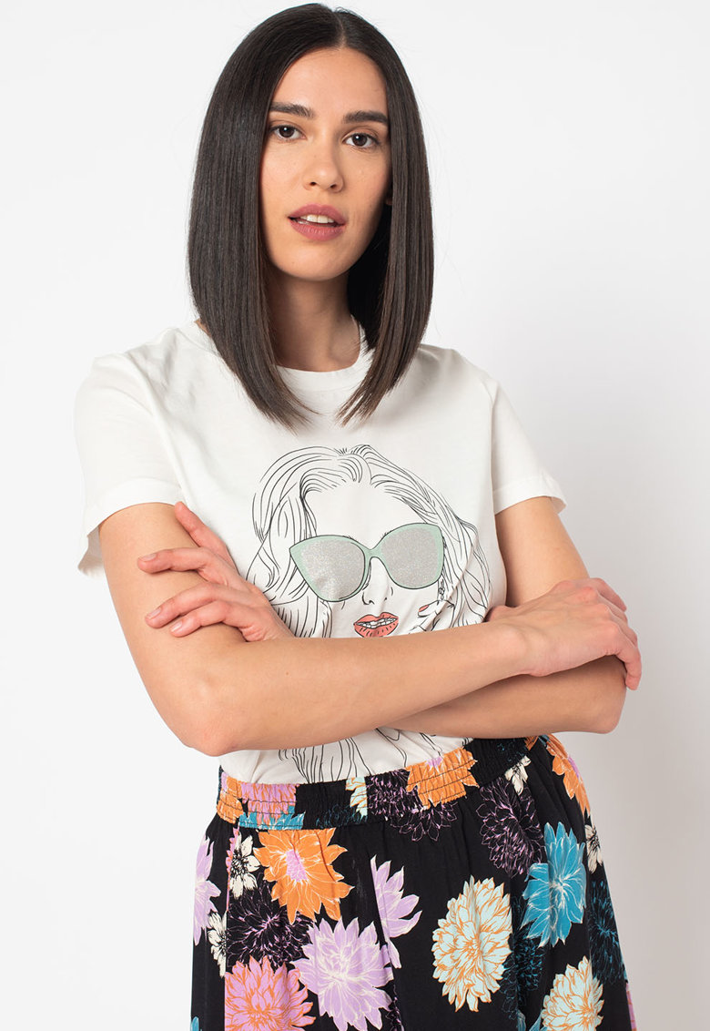Tricou din bumbac organic cu imprimeu grafic Berta imagine fashiondays.ro 2021