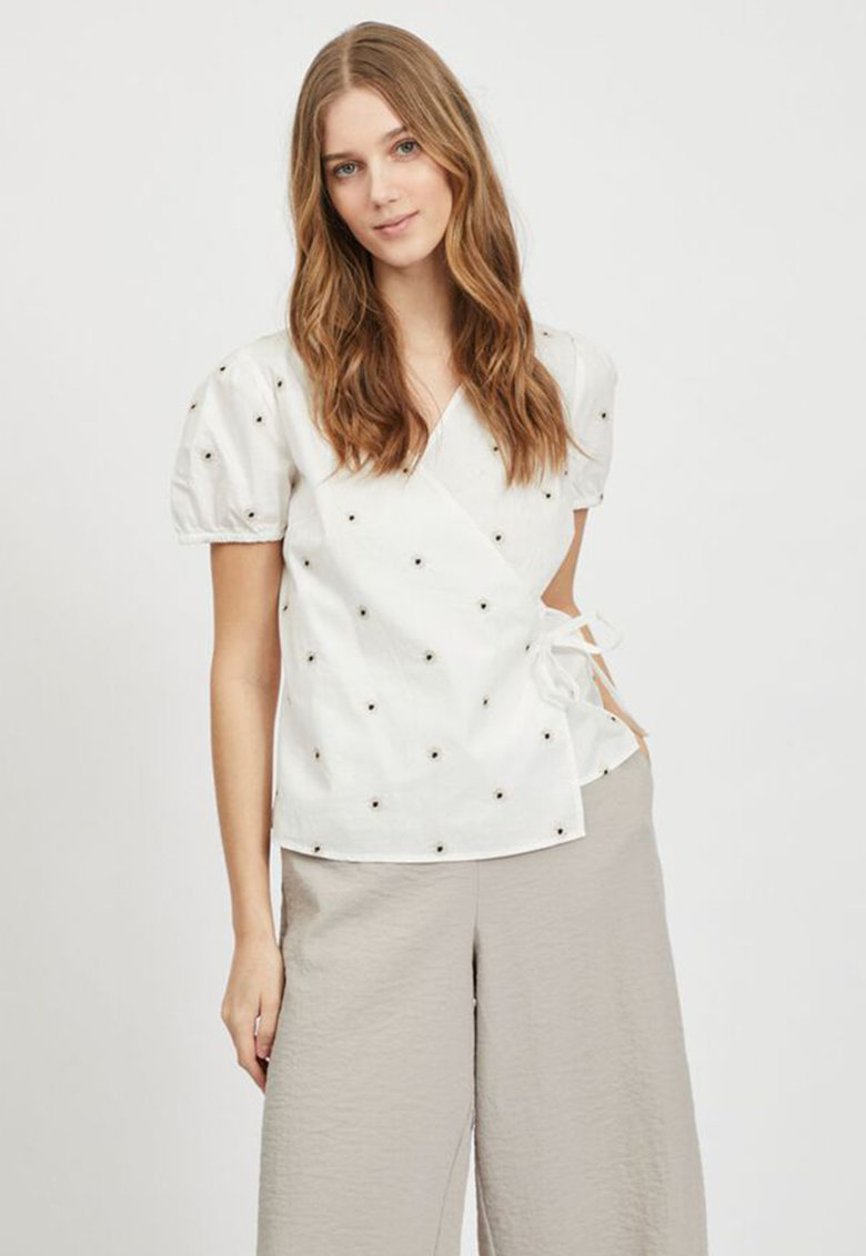 Bluza petrecuta cu maneci scurte imagine fashiondays.ro Vila