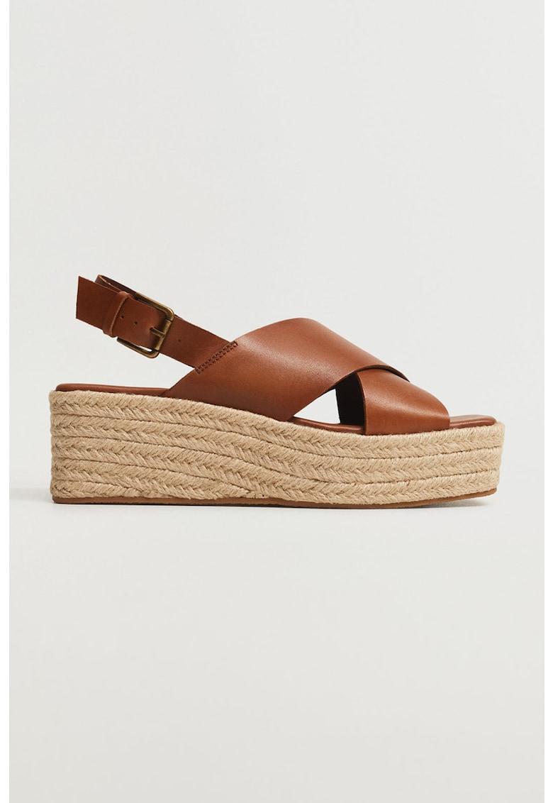 Sandale tip espadrile wedge de piele ecologica Young